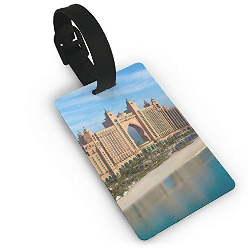 PhyShen Beautiful Dubai Atlantis City PVC Luggage Tags with LeatherWristband Suitcase Labels Travel Bag Accessories Delicate Printing