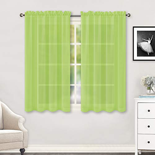 HUTO Lime Green Sheer Curtains 45 Inch Length for Small Window Rod Pocket Sheer Drapes Panels for Kitchen Bathroom,2 Panels 52 by 45 Inches Long