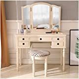 Dresser Kit/Wooden Dressing Table Dresser Set with Three-Fold Square Mirror & Drawers & 1 Vanity Stool with Roman Column/Used for Bedroom Makeup Spa Dressing Room/Fluorescent Pink