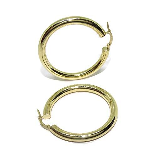 Orecchini a cerchio, in oro giallo 18 carati, di 4 mm di spessore e 3,80 cm di diametro esterno, 5,60 g di oro 18 carati, chiusura facile click.