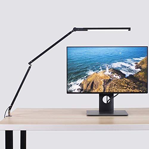 Abrrlo Lámpara de escritorio LED, brazo giratorio, lámpara de trabajo, control táctil, lámpara de mesa de oficina, regulable sin niveles, temperatura de color ajustable, protección ocular, 8 W