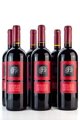 6x 750ml Vin de Crete Rotwein trocken 12% Michalakis kretischer roter Wein griechischer Tafelwein im 6er Set + 2x 10ml Olivenöl zum testen