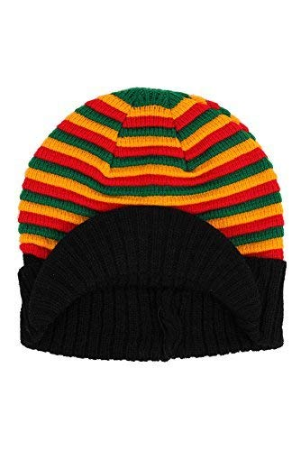 Hip Hop Caps Rasta Tricot Rayure Bonnet de Ski - Rasta, Rasta, Taille Unique, Taille Unique