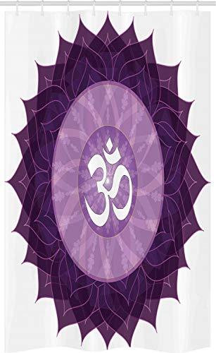 ABAKUHAUS Lila Schmaler Duschvorhang, Arabisch Buchstabe Chakra, Badezimmer Deko Set aus Stoff mit Haken, 120 x 180 cm, Lila