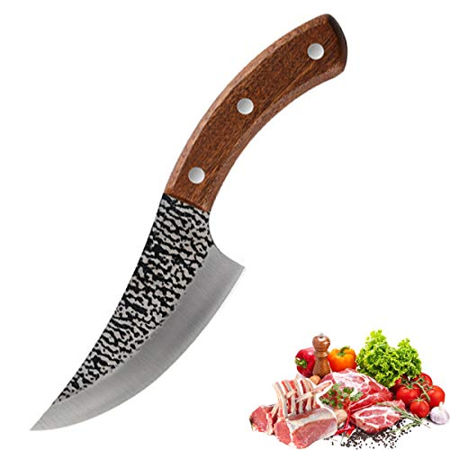 Akatomo 5 Zoll Ausbeinmesser Handgeschmiedetes Küchenmesser Kochmesser Fleischbeil Metzger Hackmesser für den Haushalt im Freien Camping (Ausbeinmesser)