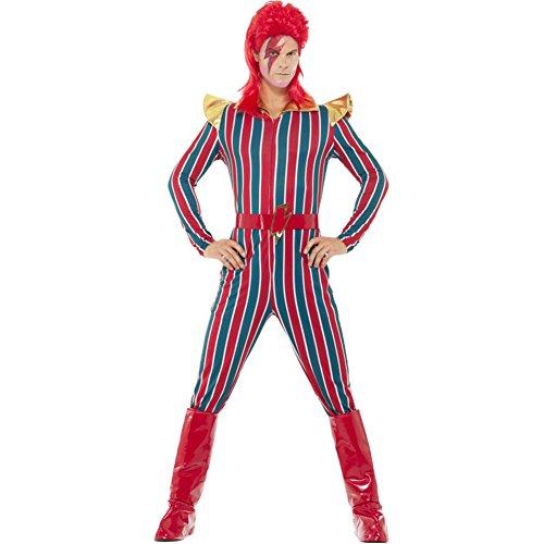 Smiffy's - Heren ruimte Superstar kostuum, jumpsuit, riem en laarzen overtrekker, meerkleurig