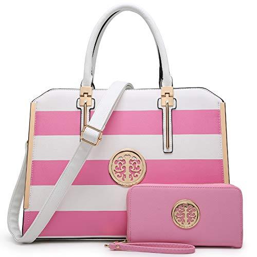 Dasein Women Large Handbag Purse Vegan Leather Satchel Work Bag Shoulder Tote with Matching Wallet (Pink/White)
