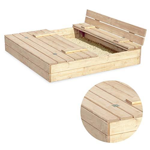 Sandkasten Sandbox Sandkiste mit Klappdeckel Sitzbänken 120x120x20 Kiefernholz mit Anti-Unkraut Bodenplane Deckel und Bank Buddelkasten Quadratisch Gartenspiel Natur Nicht lackiert - 3