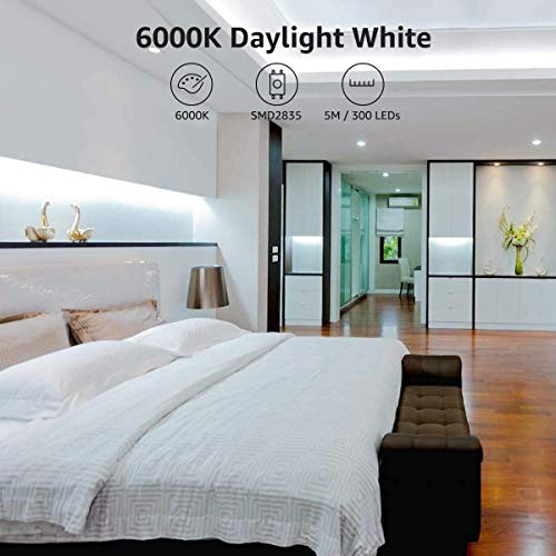 LE 12V LED Strip Light, Flexible, SMD 2835, 16.4ft Tape Light for Home, Kitchen, Party, Christmas and More, Non-waterproof, Daylight White