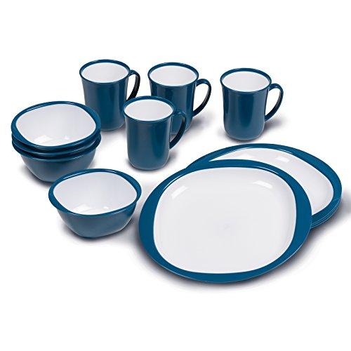Melamin Geschirrset 12 Teile Teller Tassen Schüssel Campinggeschirr Set Geschirr 4 Personen Picknick Camping Melamingeschirr Tafelservice Tafelgeschirr Outdoor Kombiservice Picknickgeschirr blau weiß