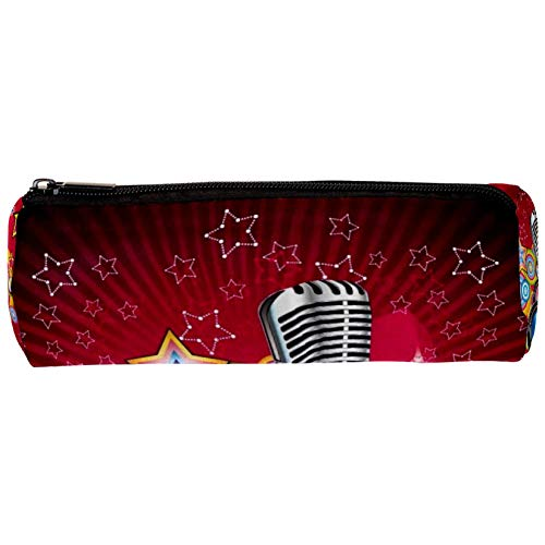 Vector Music Fondo con altavoz y micrófono Estuche para lápices,...