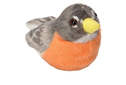 Wild Republic Audubon Birds American Robin Plush Authentic Bird Sound, Stuffed Animal, Bird Toys for Kids, American Robin