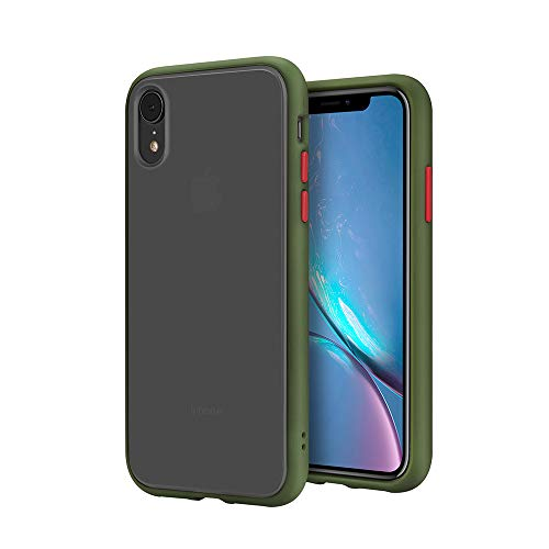 SENMON iPhone XR Case, Poly-Chromatic Independent Button Matte Finish Back.Shockproof Protective Anti Scratch Cover Case Designed for iPhone XR (Army Green)