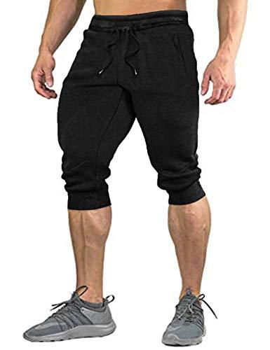 COOFANDY Herren Hose 3/4 Jogginghose Sporthose Traininghose Herren Shorts Freizeit Shorts Elastisch Atmungsaktiv Hose, Schwarz, XL