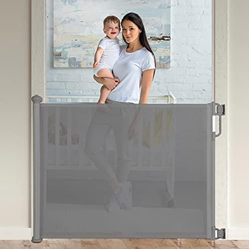 Momcozy Barrera Seguridad Niños Escalera, 0-140cm Retráctil Puertas de Seguridad para Niños Versión Mejorada, Uso Más Suave y Silencioso, para Escaleras y Pasillos, Interiores y Exteriores, Gr