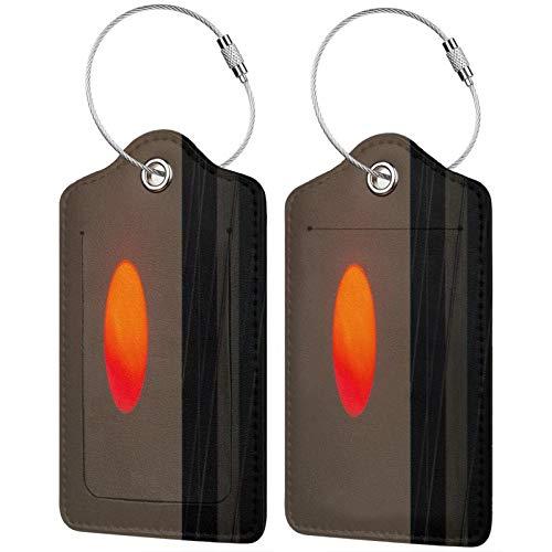 FULIYA - Juego de 2 etiquetas de cuero para maletas, identificador de viaje para bolsas y equipaje, para hombres y mujeres, sol, edificio, minimalismo, puesta de sol, crepúsculo