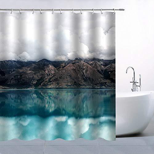 AdaCrazy Duschvorhang Natur Landschaft Thema Bergsee Reflexion Himmel Kontrastfarbe 71x71 Zoll hochwertigem Polyester wasserdichtes Gewebe Duschvorhang einschließlich 12 Kunststoffhaken