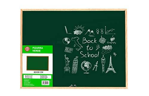 Pizarra Verde de Pared con borde de madera para Tiza o rotuladores efecto tiza. Pizarra para pintar o apuntar, fácil de limpiar. Varios tamaños. Incluye 2 argollas para colgarlo (60x90cm)