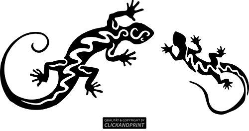 CLICKANDPRINT Aufkleber » Eidechsen/Geckos, 30x13,8cm, Schwarz • Wandtattoo/Wandaufkleber/Wandsticker/Wanddeko/Vinyl