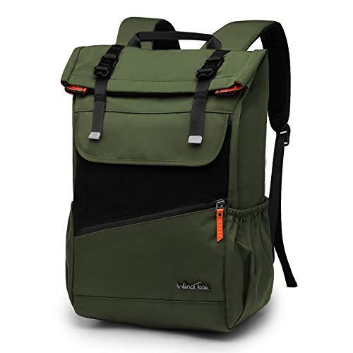 Wind Took Rolltop Rucksack Daypack Schulrucksack Fahrradrucksack für 15,6 Laptop, Uni Büro Alltag Herren Damen, Grün