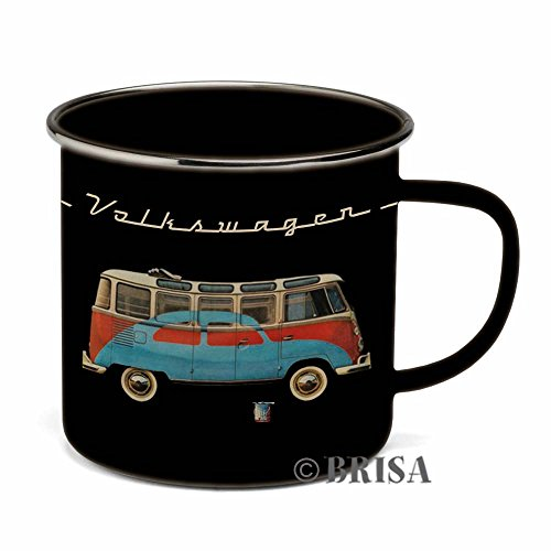 BRISA VW Collection - Volkswagen T1 Bulli Bus & Käfer Emaille-Kaffee-Tee-Tasse-Becher in Geschenkbox - CampingZubehör/Geschenkidee (Motiv: Bulli/Käfer/emailliert/schwarz/rot/blau)
