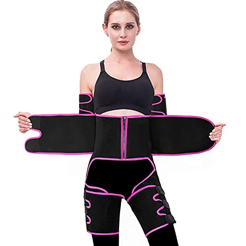 Waist and Thigh Trainer for Women 4-in-1 Zipper Waist Trimmer Weight Loss Everyday Wear Sweat Band Butt Lifter Waist Arm Slimmer Trainer Body Shaper Belts with Arm Band Pink