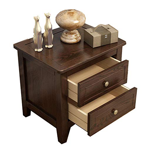 GLYYR Bedside Table Solid Wood With 2 drawers Removable Small Coffee Table Solid Wood Bedroom Office Coffee Bedroom Living Room Hallway Bathroom Furniture Corner Side Table Lazy