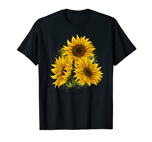 Yellow Sunflower Floral Watercolor Positivity T-Shirt