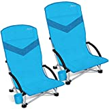 MOVTOTOP Folding Camping Beach Chair, 2021 Newest Portable Outdoor Backpack Camping Chair, High Back Rest Patio Chairs with Carry Bag Heavy Duty 300 lbs Capacity (2 Pack)