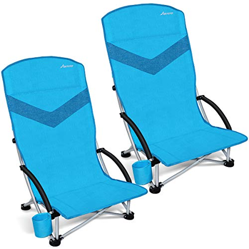 MOVTOTOP Folding Camping Beach Chair, 2020 Newest Portable Outdoor Backpack Camping Chair, High Back Rest Patio Chairs with Carry Bag Heavy Duty 300 lbs Capacity (2 Pack)