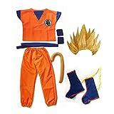 Disfraz Dragon Ball Z Combinación 6 Piezas Halloween Navidad Son Goku Niño Cosplay Costume con Peluca (Amarillo, S 105-125cm)