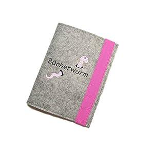 aufklappbare handmade eReader eBook Reader Hülle Bücherwurm Wollfilz Filz inkl. Stickerei, Maßanfertigung z.B. für…