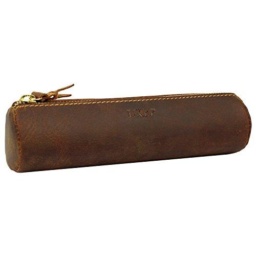 Lxff vintage Cuir véritable Fermeture Éclair étui à crayons Sac de support – Petit Voyage Maquillage de sac Brown.