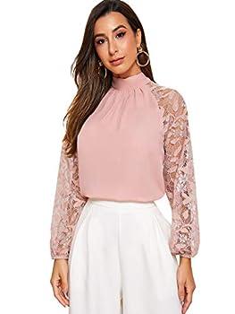 Romwe Women s Lace Long Sleeve Mock Neck Tie Back Elegant Blouse Tops Pink Medium
