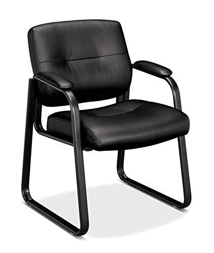 HON Client Sled Base Guest Chair - Leather Reception Chair, Black (HVL693)
