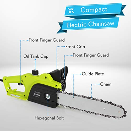 8 Amp Electric Corded Chainsaw - High Power Handheld Tree Pruner Trimmer Electrical Saw w/ 10ft Cord, 12 Inch Alloy Steel Cutting Blade, Oil Container- SereneLife PSLTLL1516, Black