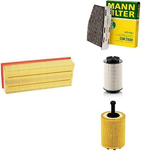 Mann-Filter Service Paket mit 1x Luftfilter C35154, 1x Innenraumfilter CUK2939, 1x Kraftstofffilter PU936/2X, 1x Ölfilter HU719/7X