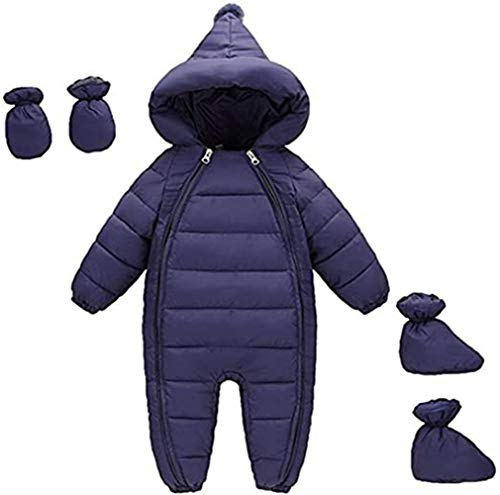 Unisex Baby Down Cotton Romper 3 Pcs Thick Boys Girls Winter Coat Baby Puffer Outerwear Sleeper with Gloves Foot Cover Dark Blue 12-18 Month