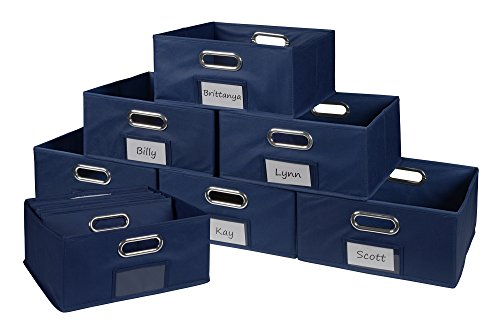 Niche Cubo Half-Size Foldable Fabric Storage Bins (Set of 12), Blue