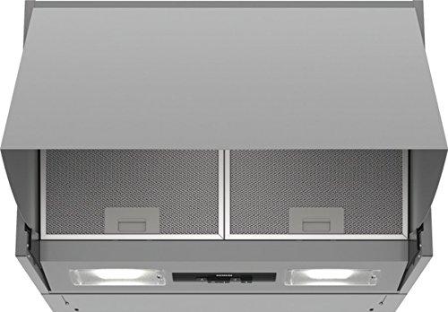 Siemens LE66MAC00 Dunstabzugshaube / Zwischenbauhaube / 59,9 cm / Metall-Fettfilter / Drucktastenschalter / Silber