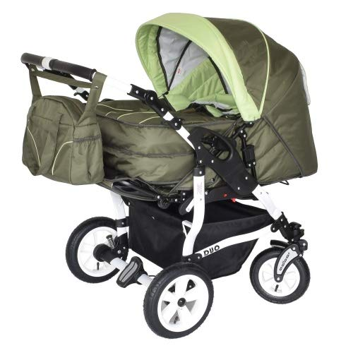 Adbor Duo Zwillingskinderwagen - weißes Gestell, Zwillingswagen, Zwillingsbuggy Farbe Nr. 04w olivegrün/grün