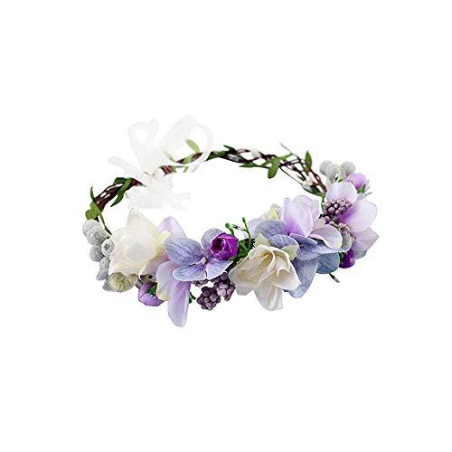 Winslet Blumenkrone, Stirnband mit verstellbarem Band für Frauen oder Mädchen als Haarschmuck (Violett)
