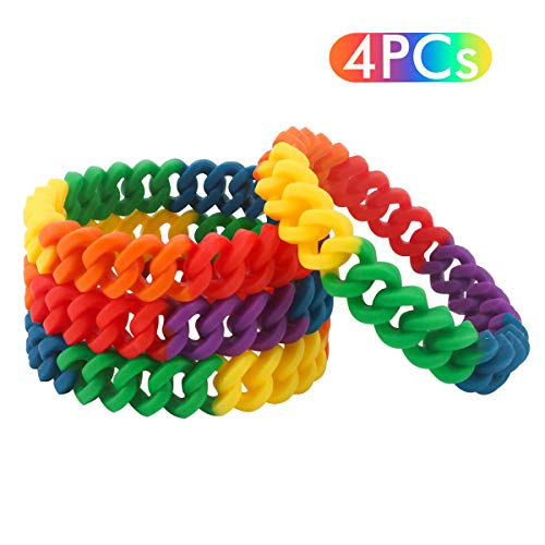 Ensemble de jour Gay Pride - Drapeau de la fierté - Bandeau arc-en-ciel rayé et 4 bracelets pour défilés LGBT, fêtes costumées, sport (bracelet tressé)