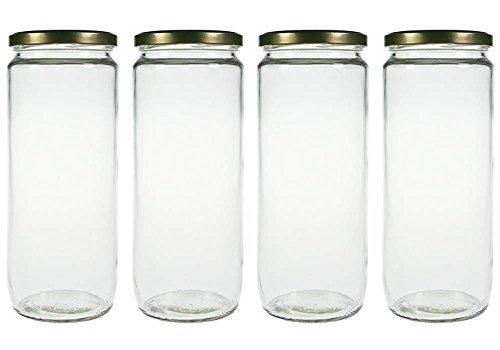 mikken 4er Set Vorratsglas 1,1 Liter mit Schraubverschluss, Einmachglas, Glasdose inkl. Beschriftungsetiketten