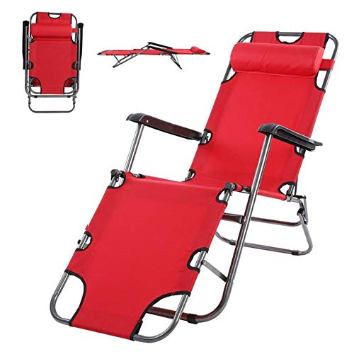 DORALO Folding Patio Lounge Chair, Adjustable Recliner with Detachable Headrest, Sunlounger for Patio Decking Gardens Camping, Open Total Length: 153Cm,Red