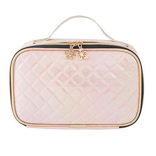 Bolsa de cosméticos de cuero, bolsa de maquillaje con láser de Symphony, bolsa de maquillaje impermeable, bolsa de maquillaje para mujeres, damas y niñas, Pink,