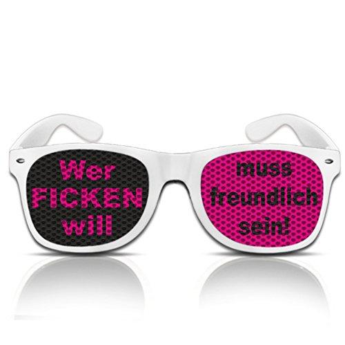 mygafas-ein Projekt von drucksda Party Sonnen Brille Spruch Wer ficken will muss freundlich sein Spassbrille mit Motiv Pilotenbrille Nerdbrille mit frechem Spruch (Nerd weiß)