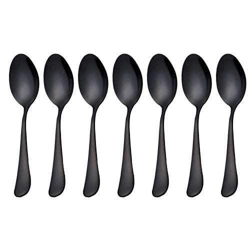 Bobotron Black cucharaditas de cucharaditas de cucharillas de acero inoxidable, cucharada para helado, cucharaditas pequeñas para postre, juego de 6 (cucharas de café negras)