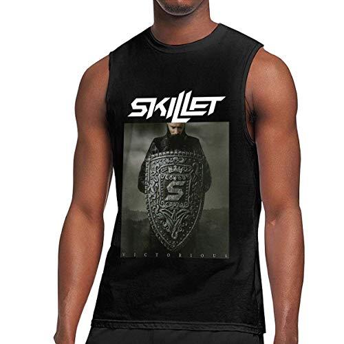 Tengyuntong Camisetas y Tops Hombre Polos y Camisas, Skillet Band Sin Mangas para Hombre Verano Cuello Redondo Tank Top Muscle Vest Tees