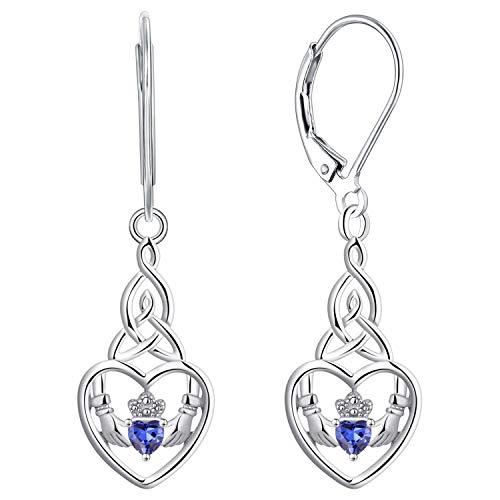 JO WISDOM Women Earrings,925 Sterling Silver Irish Celtic Claddagh Love Heart Drop & Dangle Leverback Earrings with 5A Cubic Zirconia December Birthstone Tanzanite Color